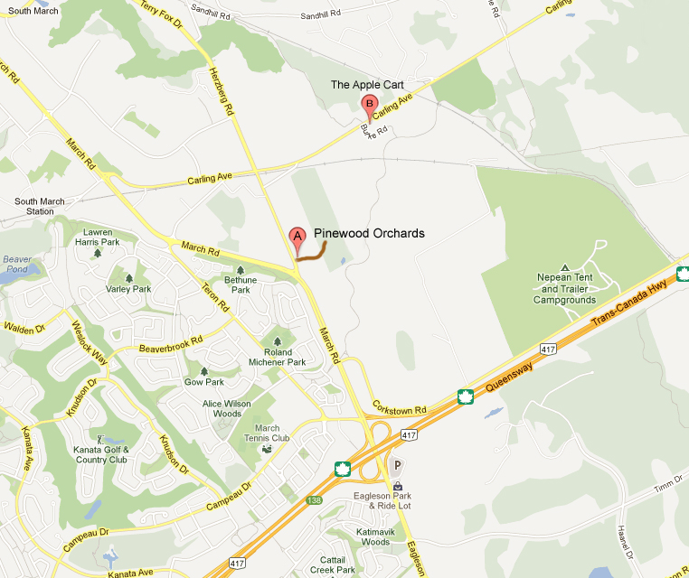 Map to Pinewood Orchards